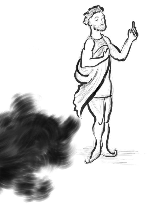 Mann mit erhobenem Zeigefinger dreht sich von einer schwarzen Wolke weg, die ihn kriecherisch von unten her anzublicken scheint.
