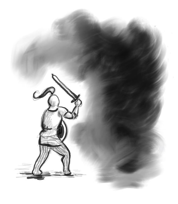 Ritter mit Schwert kämpft gegen schwarze Nebelwolke an
