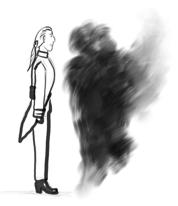 Mann in Uniform steht aufrecht wie eine Säule vor einer schwarzen Rauchwolke, die sich ebenso zu einer Säule aufgestellt hat.