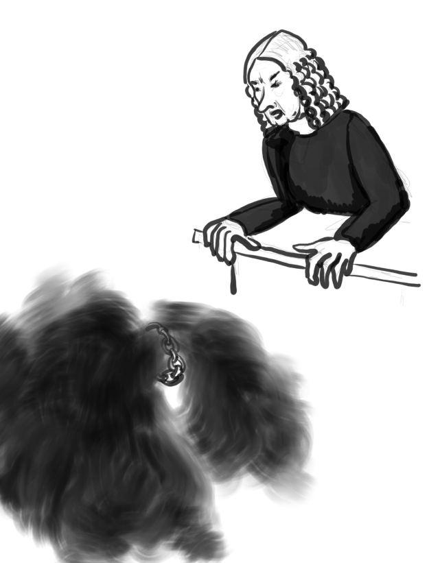 Richter mit Perücke spricht hinab zu einer schwarzen Nebelwolke, die geknickt scheint und von einer Kette festgehalten wird